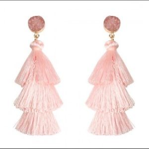Blush Pink Druzy Tassel Earings